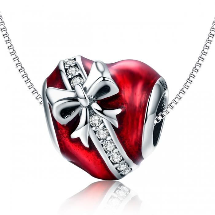 Charm argint 925 inimioara rosie cu fundita si zirconii albe - Be in Love PST0131 [5]