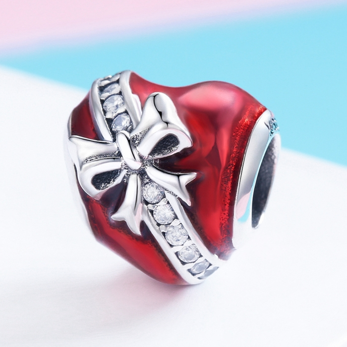 Charm argint 925 inimioara rosie cu fundita si zirconii albe - Be in Love PST0131 [1]