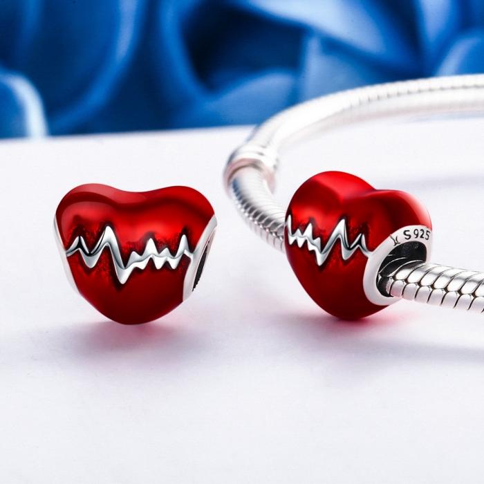 Charm argint 925 inimioara rosie cu puls - Be in Love PST0087 1