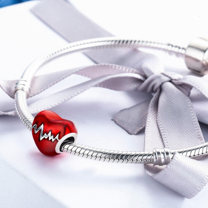Charm argint 925 inimioara rosie cu puls - Be in Love PST0087 4