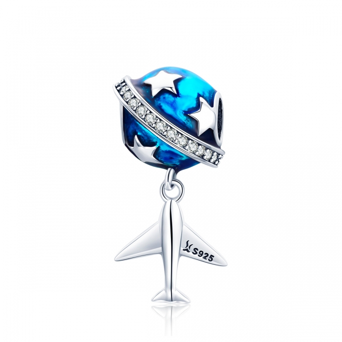 Charm argint 925 planeta albastra cu avion, stelute si zirconii albe PST0149 0