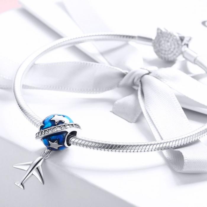 Charm argint 925 planeta albastra cu avion, stelute si zirconii albe PST0149 2
