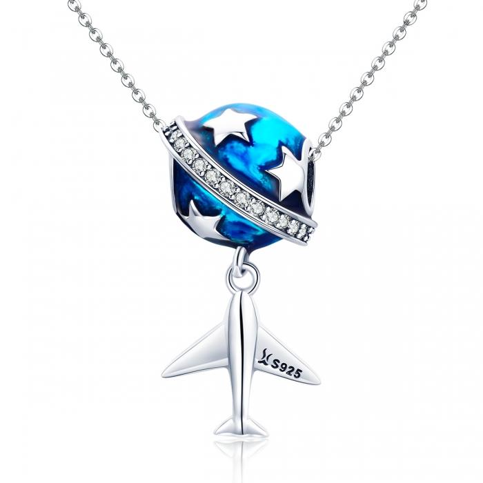 Charm argint 925 planeta albastra cu avion, stelute si zirconii albe PST0149 4