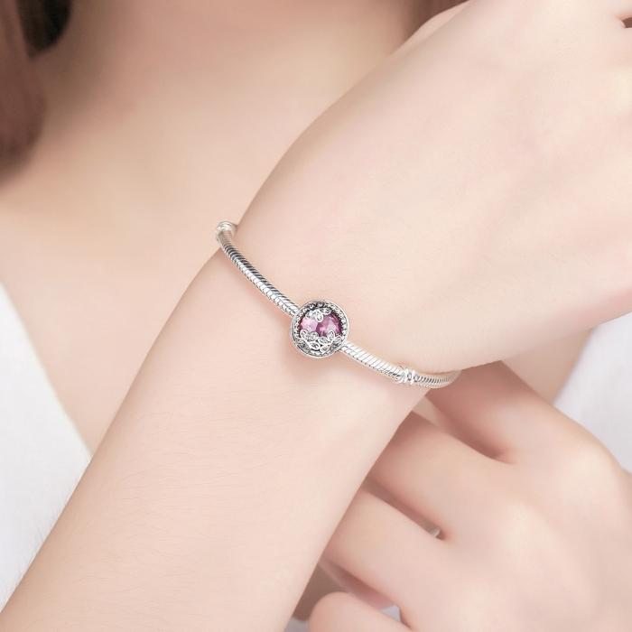 Charm argint 925 roz cu floricele si zirconii albe - Be Nature PST0085 4