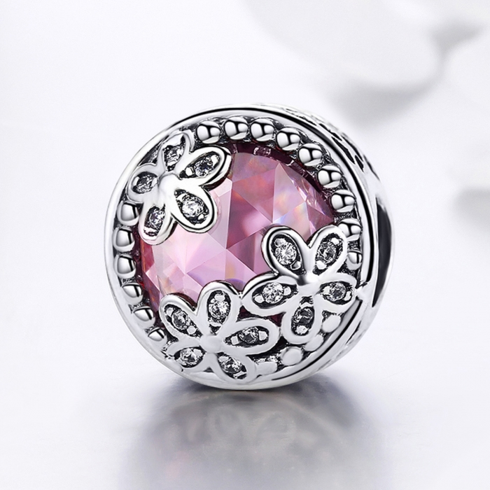 Charm argint 925 roz cu floricele si zirconii albe - Be Nature PST0085 3