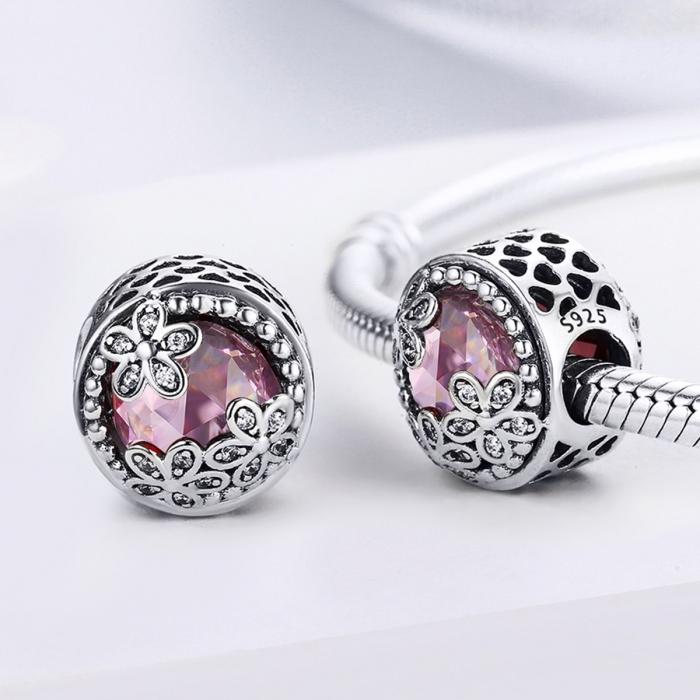 Charm argint 925 roz cu floricele si zirconii albe - Be Nature PST0085 1