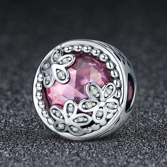 Charm argint 925 roz cu floricele si zirconii albe - Be Nature PST0085 2