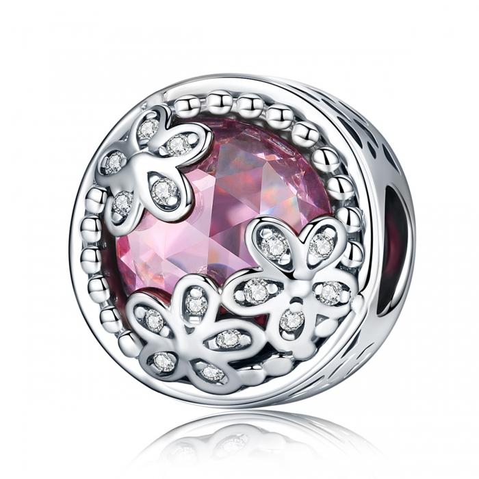Charm argint 925 roz cu floricele si zirconii albe - Be Nature PST0085 0
