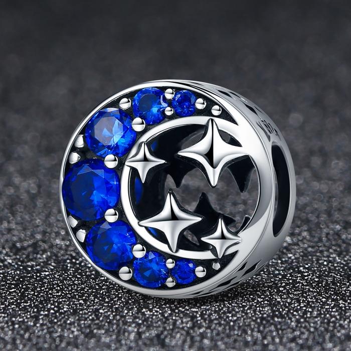 Charm argint 925 semiluna cu stelute argintii si zirconii albastre - Be Nature PST0084 2