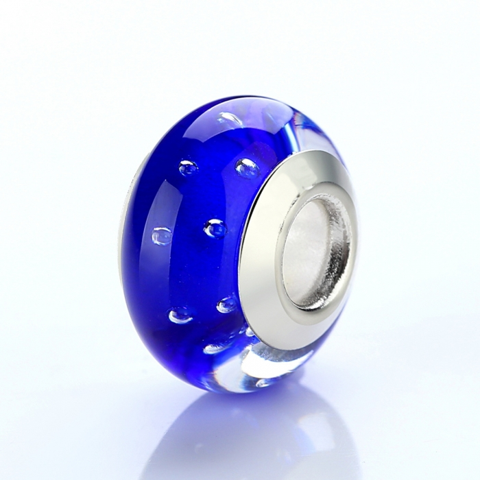 Charm fantezie albastru cu picaturi albe PST0010 [3]