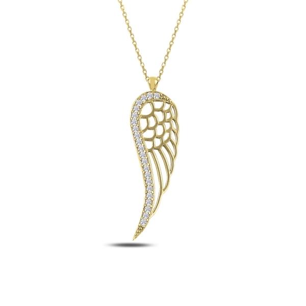 Colier argint 925 aurit cu aripa de inger si zirconii albe - Be Protected CTU0068 0