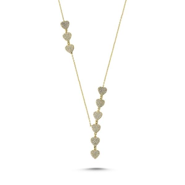 Colier argint 925 aurit inimioare cu zirconii albe - Be in Love CTU0070 0