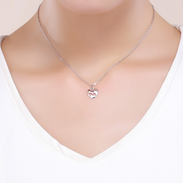 Colier argint 925 cu inimioara si pisicuta - Be Nature CST0015 5