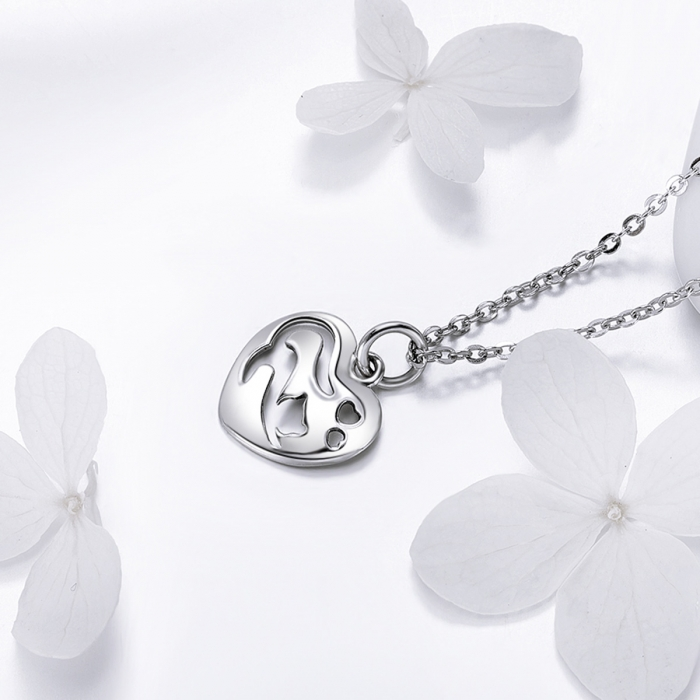 Colier argint 925 cu inimioara si pisicuta - Be Nature CST0015 1