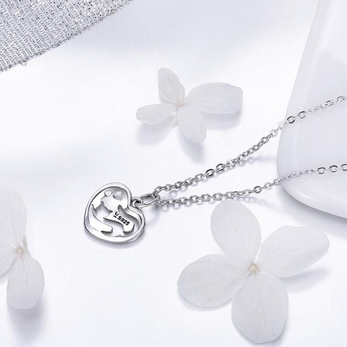 Colier argint 925 cu inimioara si pisicuta - Be Nature CST0015 2