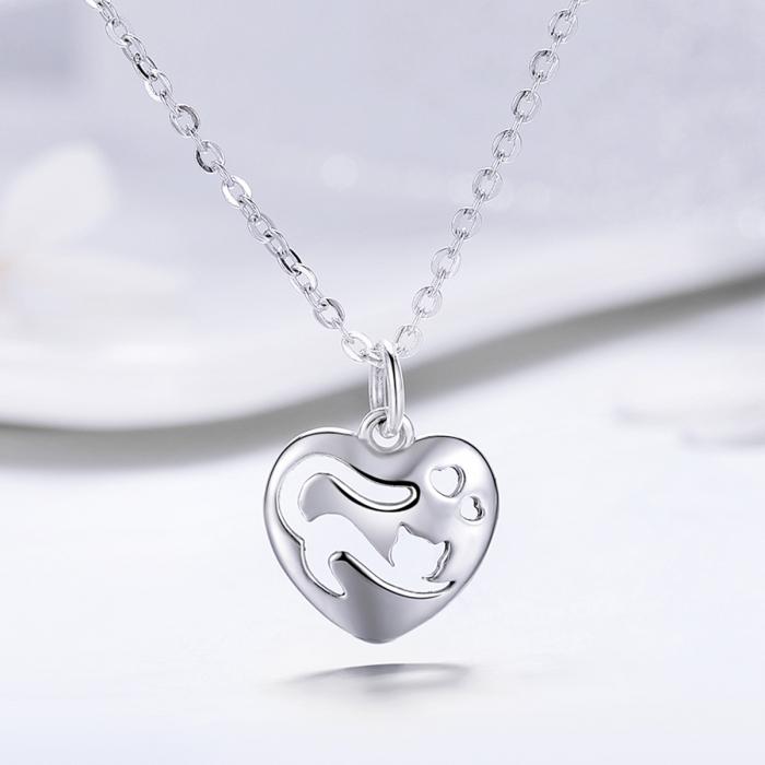 Colier argint 925 cu inimioara si pisicuta - Be Nature CST0015 3