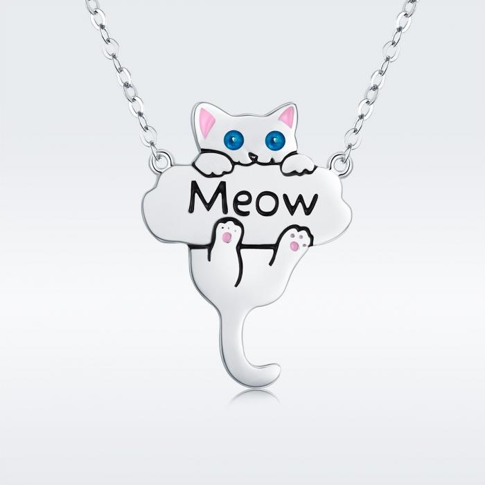 Colier argint 925 cu pisicuta jucausa Meow- Be Nature CST0013 2