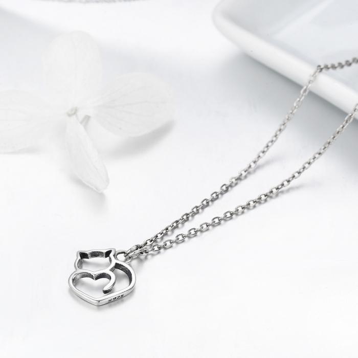 Colier argint 925 cu pisicute si inimioara - Be Nature CST0008 4