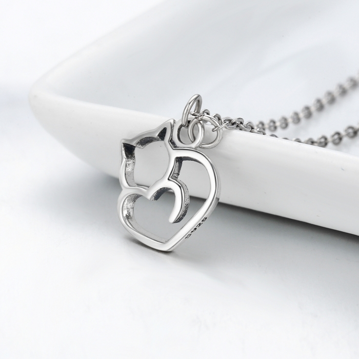Colier argint 925 cu pisicute si inimioara - Be Nature CST0008 3