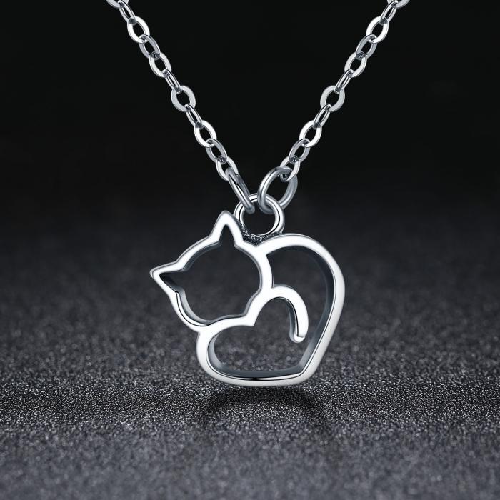 Colier argint 925 cu pisicute si inimioara - Be Nature CST0008 1