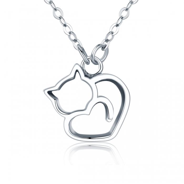 Colier argint 925 cu pisicute si inimioara - Be Nature CST0008 0