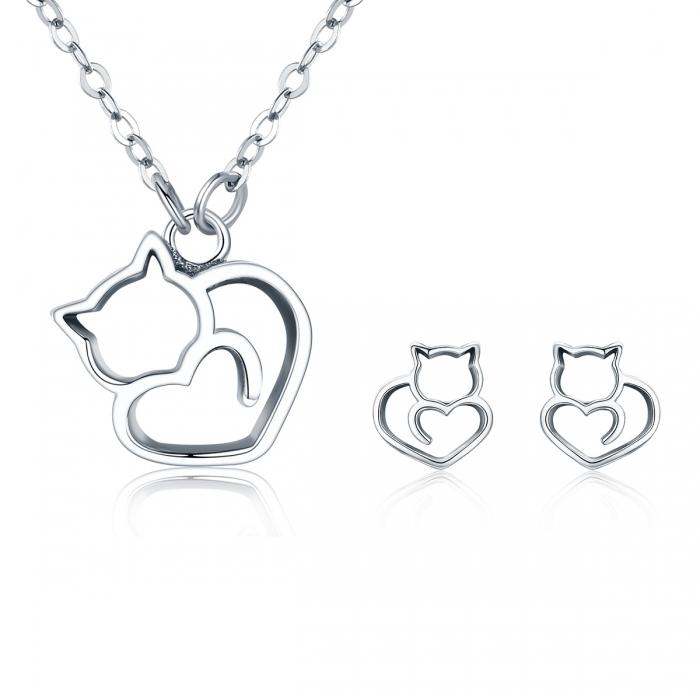 Colier argint 925 cu pisicute si inimioara - Be Nature CST0008 7