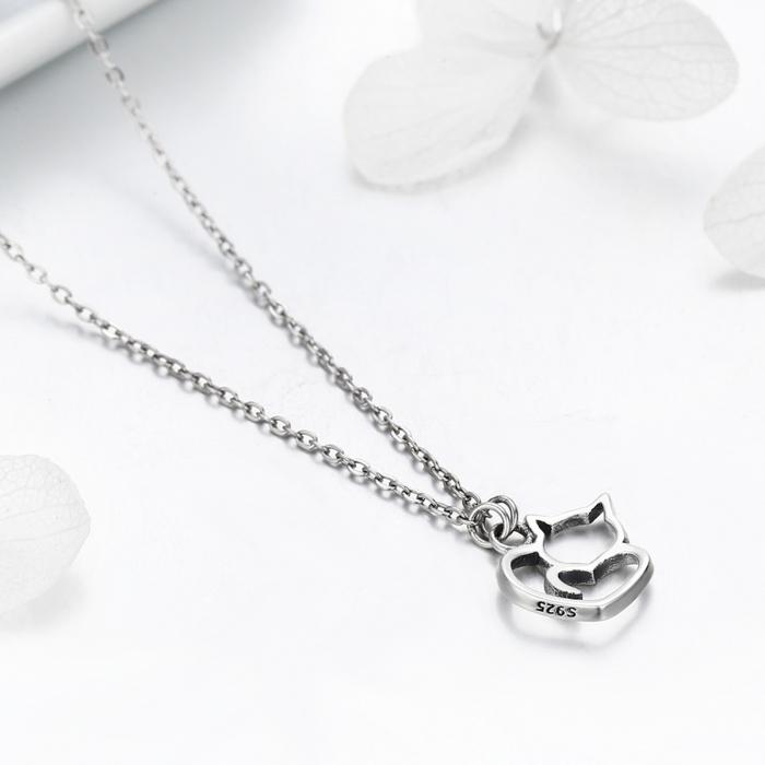 Colier argint 925 cu pisicute si inimioara - Be Nature CST0008 5