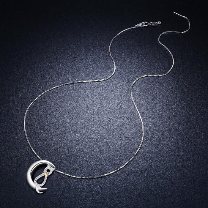 Colier argint 925 cu semiluna, pisicuta si zirconii - Be Nature CST0004 6
