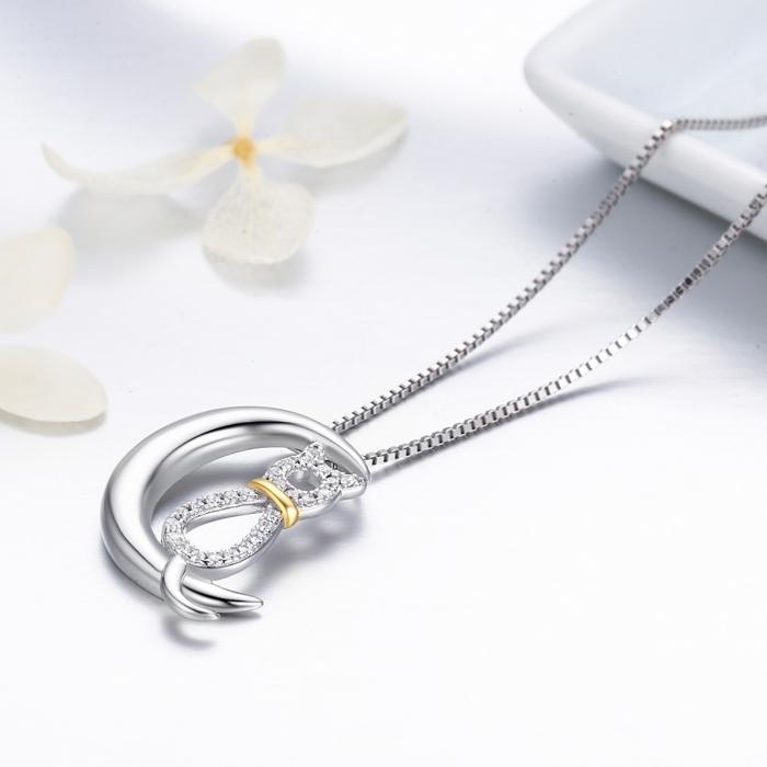 Colier argint 925 cu semiluna, pisicuta si zirconii - Be Nature CST0004 2