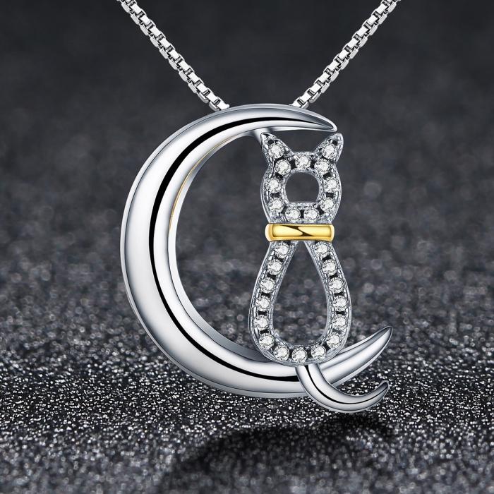 Colier argint 925 cu semiluna, pisicuta si zirconii - Be Nature CST0004 1