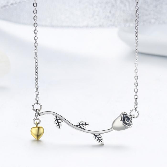 Colier argint 925 cu trandafir si inimioara aurie - Be Nature CST0006 3