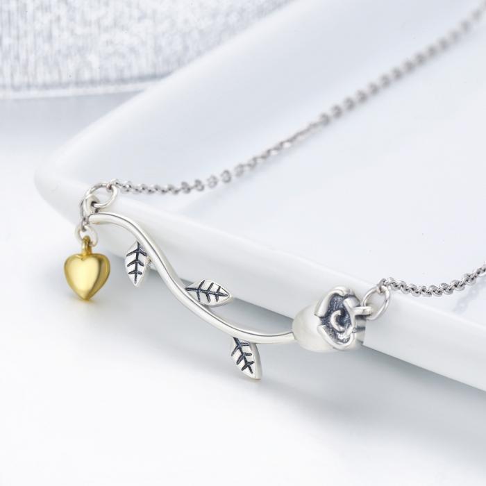 Colier argint 925 cu trandafir si inimioara aurie - Be Nature CST0006 2