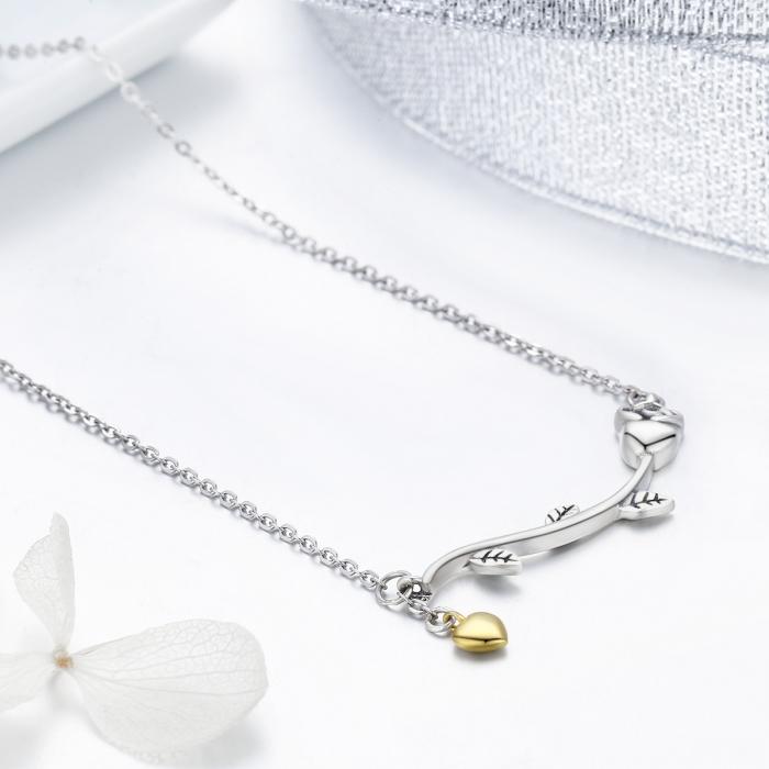 Colier argint 925 cu trandafir si inimioara aurie - Be Nature CST0006 5