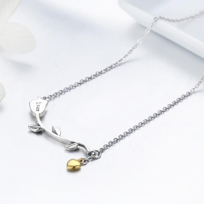 Colier argint 925 cu trandafir si inimioara aurie - Be Nature CST0006 4