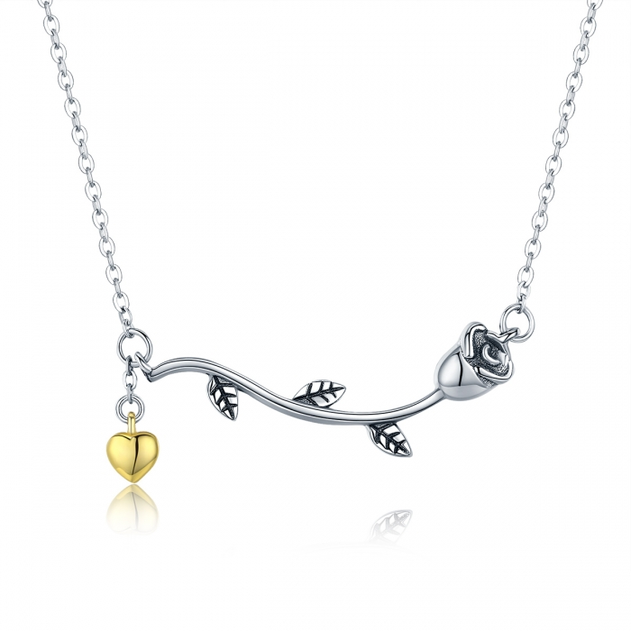 Colier argint 925 cu trandafir si inimioara aurie - Be Nature CST0006 0