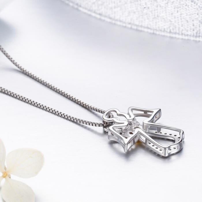 Colier argint 925 ingeras cu inimioara aurie - Be Spiritual CST0005 [4]