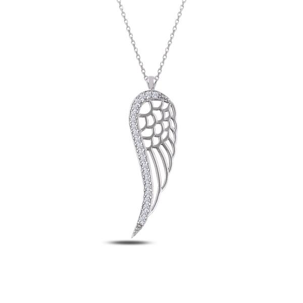 Colier argint 925 rodiat cu aripa si zirconii albe - Be Protected CTU0069 0