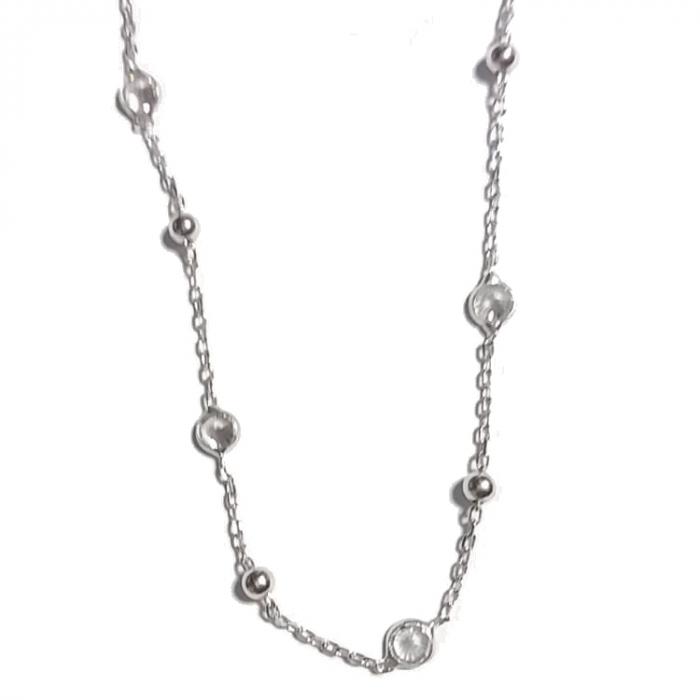 Colier argint 925 rodiat cu bilute si zirconii reglabil - LTU0032 [1]