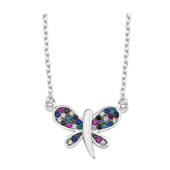 Colier argint 925 rodiat cu fluturas multicolor - Be Nature CTU0050 0