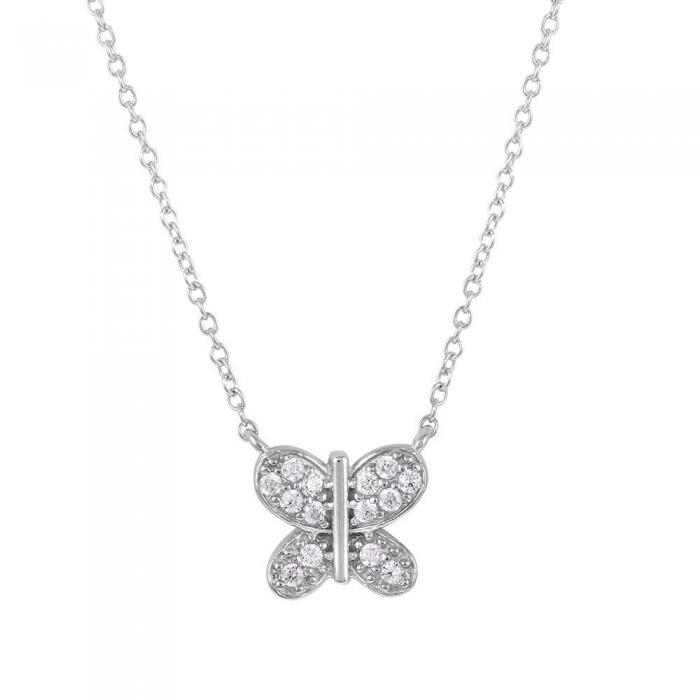 Colier argint 925 rodiat cu fluturas si zirconii CSX0178 1