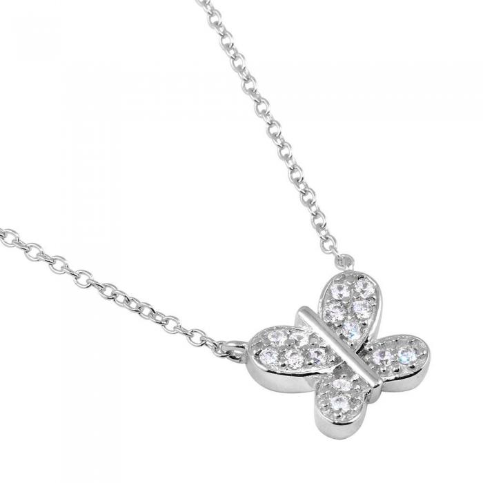 Colier argint 925 rodiat cu fluturas si zirconii CSX0178 0