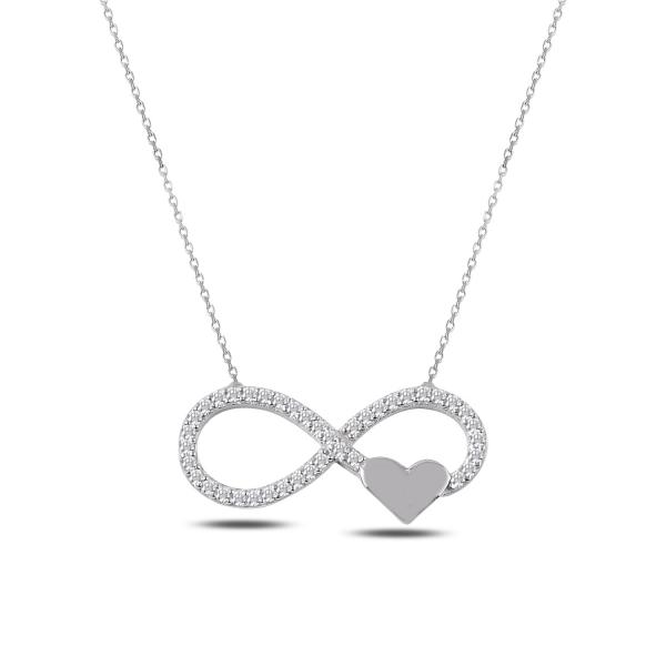 Colier argint 925 rodiat cu infinit, inimioara si zirconii albe - Infinite You CTU0067 [0]