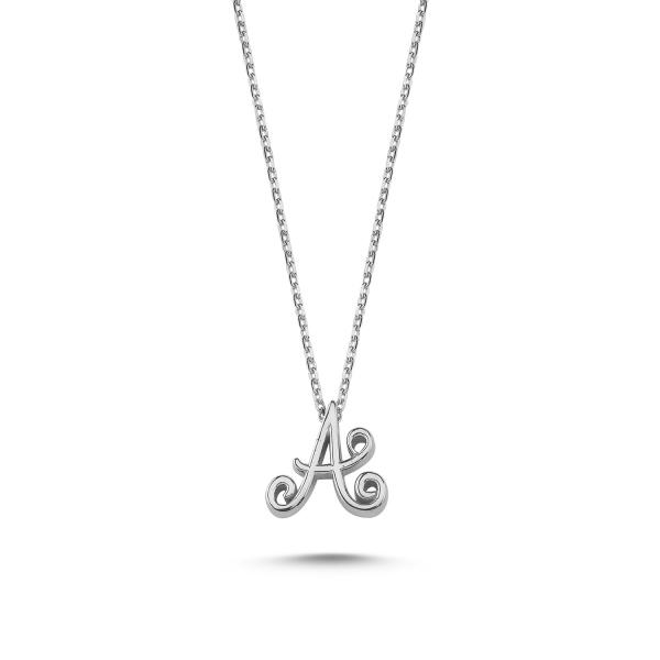 Colier argint 925 rodiat cu litera A de mana CTU0059 0