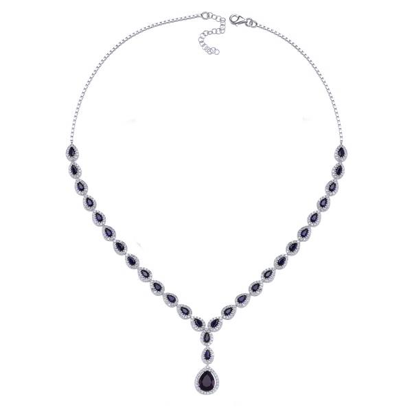 Colier argint 925 rodiat cu zirconii albe si albastre - Be Elegant CSTU0031 2