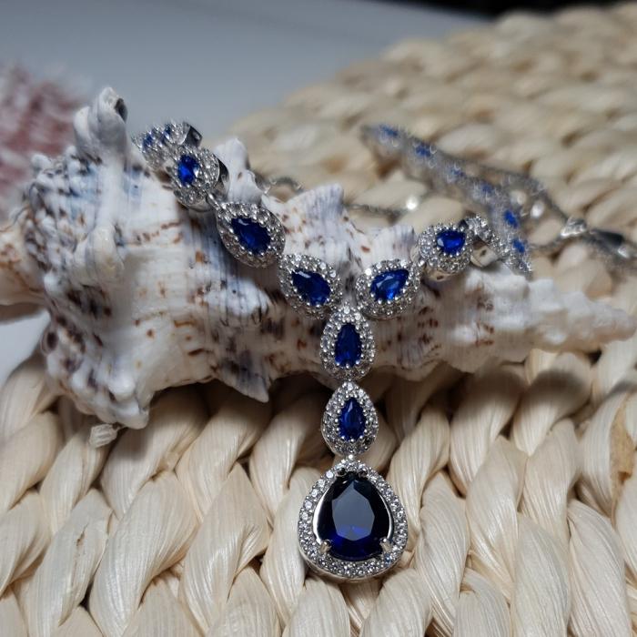 Colier argint 925 rodiat cu zirconii albe si albastre - Be Elegant CSTU0031 0