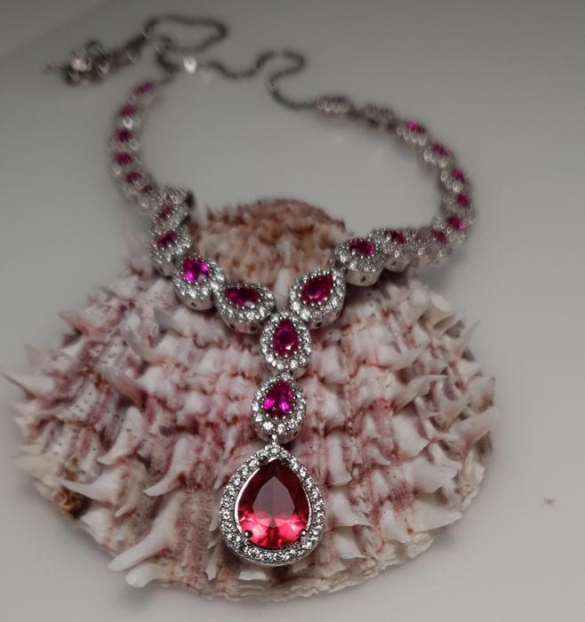 Colier argint 925 rodiat cu zirconii albe si rosii - Be Elegant CSTU0032 0