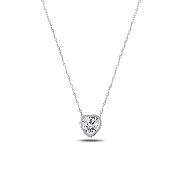 Colier argint 925 rodiat inimioara cu zirconiu alb - Be in Love CTU0062 0