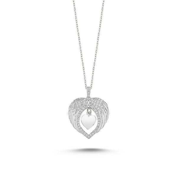 Colier argint aripi de inger si inimioara cu zirconii albe placat cu rodiu - CTU0097 0