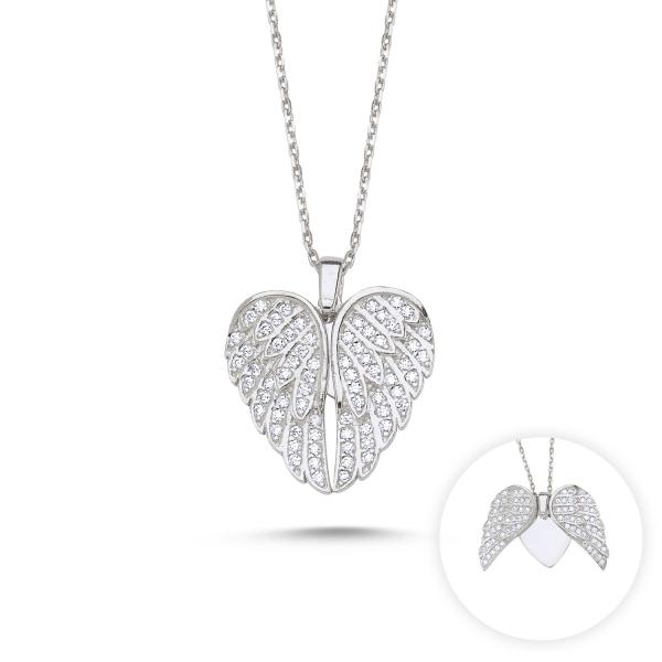 Colier argint aripi de inger si inimioara cu zirconii albe placat cu rodiu - CTU0109 0