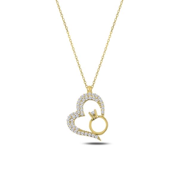 Colier argint aurit cu inima si inel cu zirconii albe placat cu aur galben - CTU0103 0